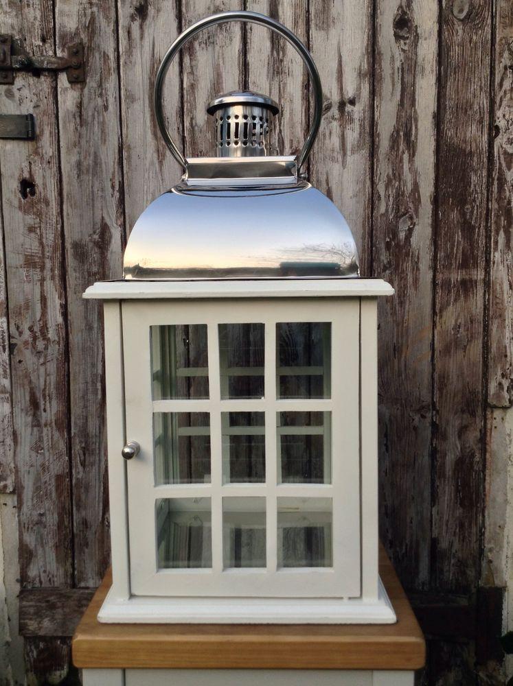 Wood stainless steel big lantern pillar candle outdoor for Wooden garden lanterns