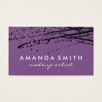 Makeupartist Businesscards Ink Splatter Purle Business Card