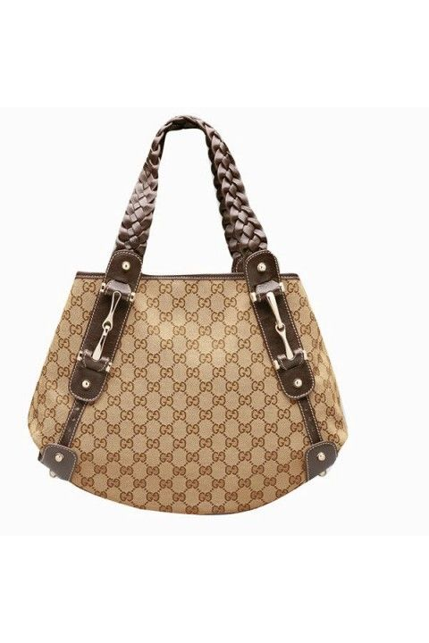 22b034dc5 Beige/ebony GG fabric with dark brown leathertrim light gold hardware  double braided straps tab snap closure bottom feet inside zip pocket 14.2