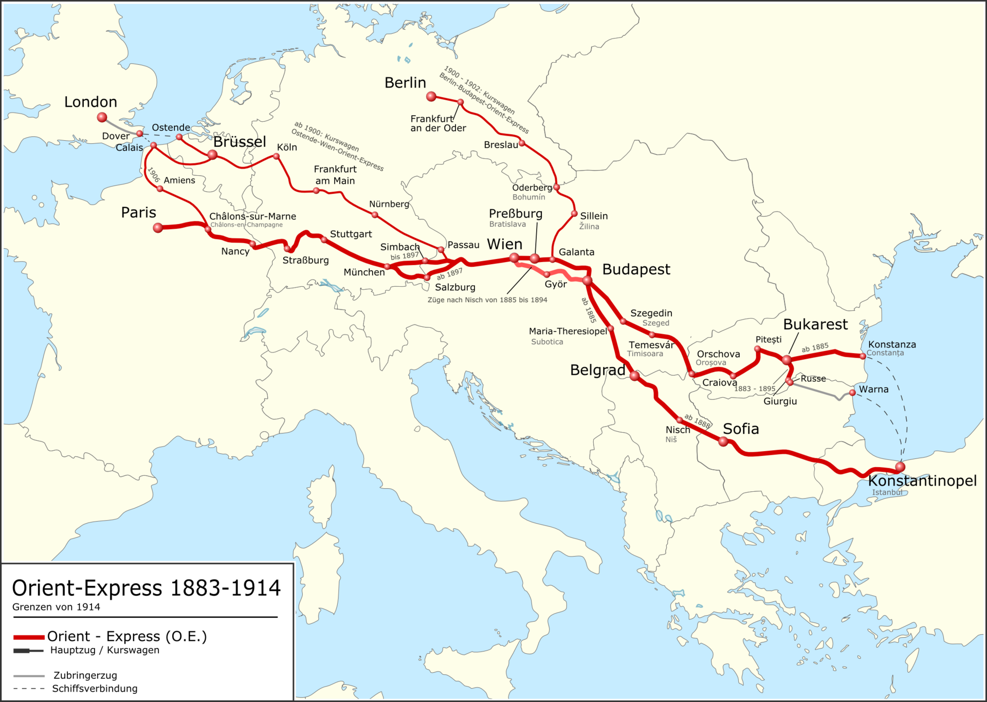 Route Of The Orient Express From 1883 To 1914 Orient Express Train Map German Map
