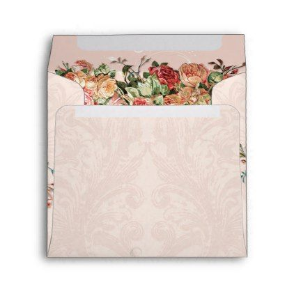 Square Elegant Blush Vintage Floral Roses Damask Envelope - sample small envelope template