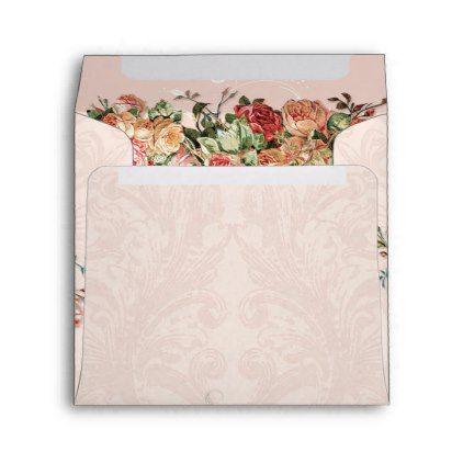 Square Elegant Blush Vintage Floral Roses Damask Envelope - sample small envelope template