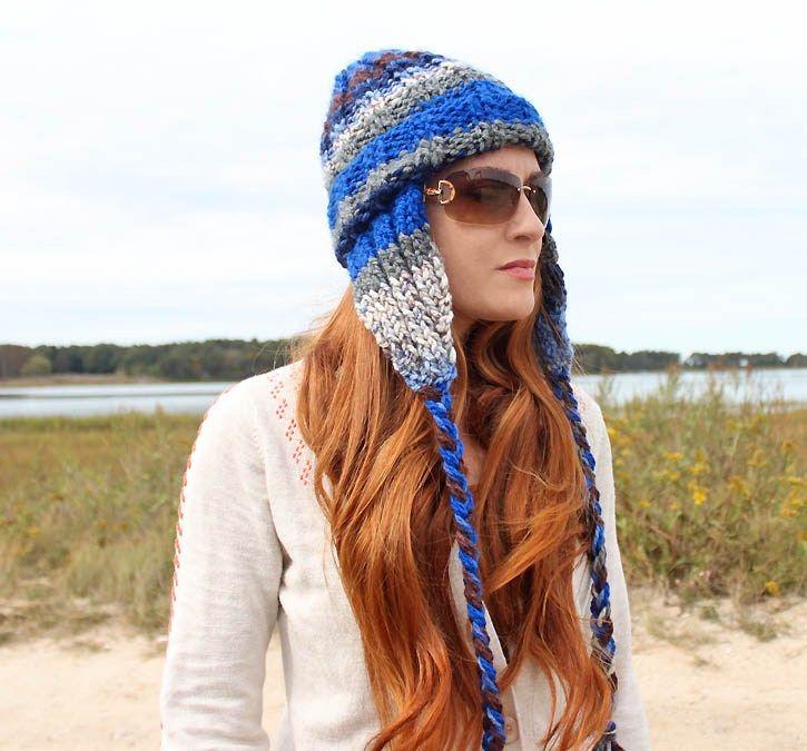 Stripe Ear Flap Beanie  knitting pattern  - Gina Michele 079b1778f3c8