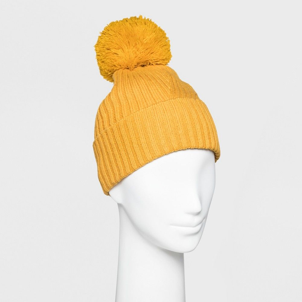 a92dcba8eab Women s Ribbed Cuff Pom Beanie - A New Day Mustard (Yellow ...