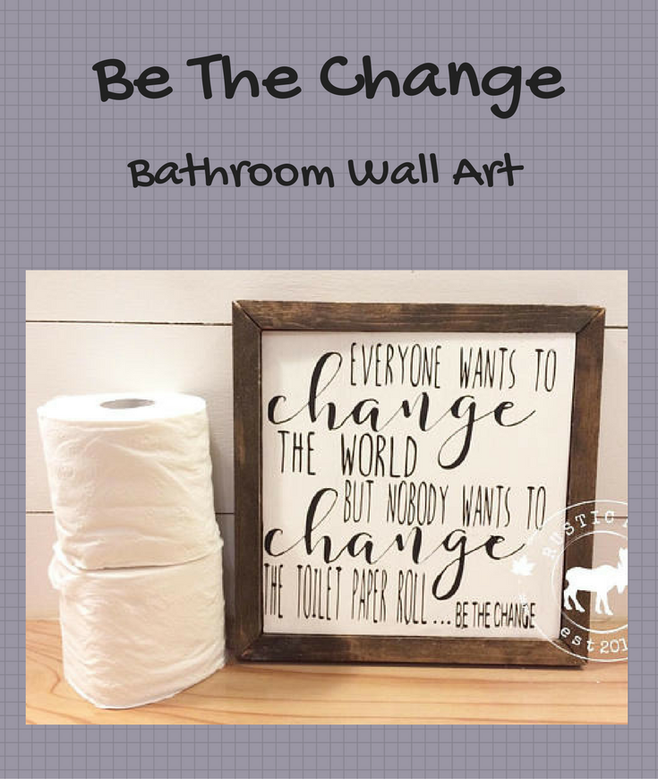 Bathroom Wood Sign Funny Wall Art Toilet Paper Roll Humor