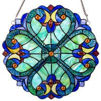 """12"""" STAINED GLASS MINI HALSTON GLASS WALL / WINDOW PANEL #13278 RIVER OF GOODS"""