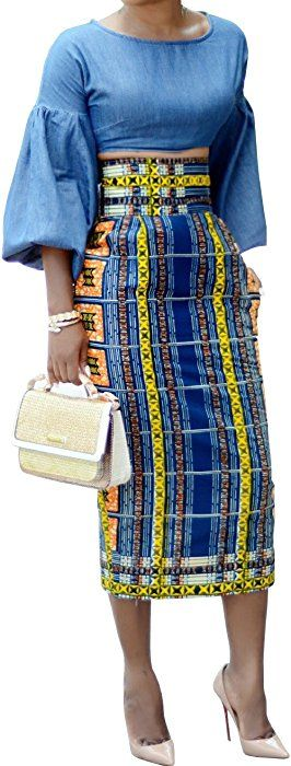 1c0b072ef Amazon.com: Ermonn Women African Print Knee Length Skirt Slim Fit Midi  Pencil Skirt: Clothing