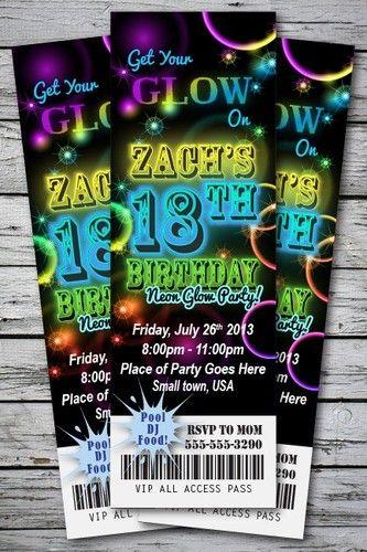 Neon glow birthday party invitation ticket stub in the dark bracelet neon glow birthday party invitation ticket stub in the dark bracelet necklace ebay filmwisefo