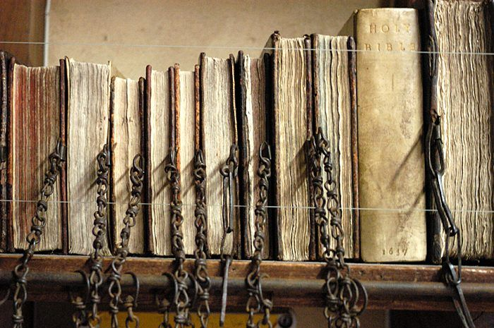 Chained Library, Hereford Cathedral - Chaining books was the most widespread and effective security system in European libraries from the middle ages to the eighteenth century, and Hereford Cathedral's seventeenth-century Chained Library is the largest to survive with all its chains, rods and locks intact.