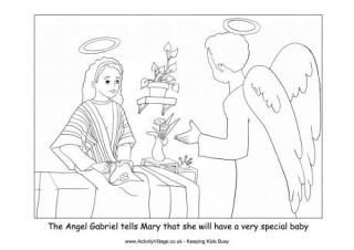 Nativity Colouring Angel Gabriel Visits Mary Angel Coloring Pages Nativity Coloring Pages Sunday School Coloring Pages