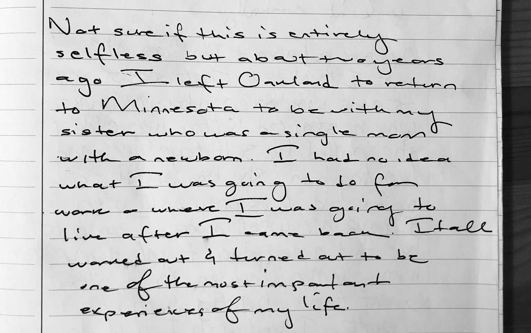 The first entry in the car journal. Not sure if this is entirely selfless  but about two years ago I left Oakland to return to Minnesota to be with my  sister ...
