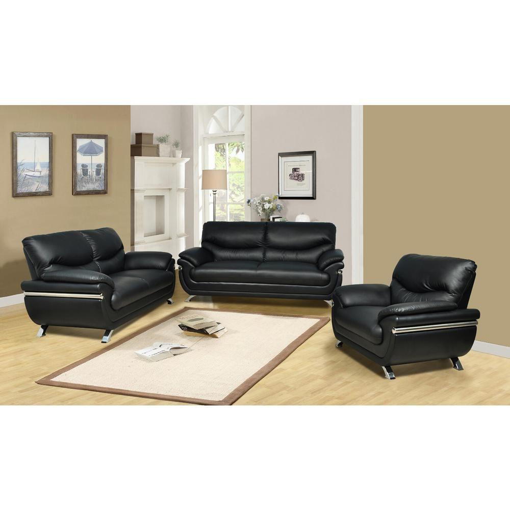 Star Home Living Black Faux Leather 3 Piece Sofa Set Sh226