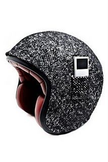 karl lagerfeld tweed helmet with ipod pocket.  only lagerfeld could dream up this level of luxury and frivolity.