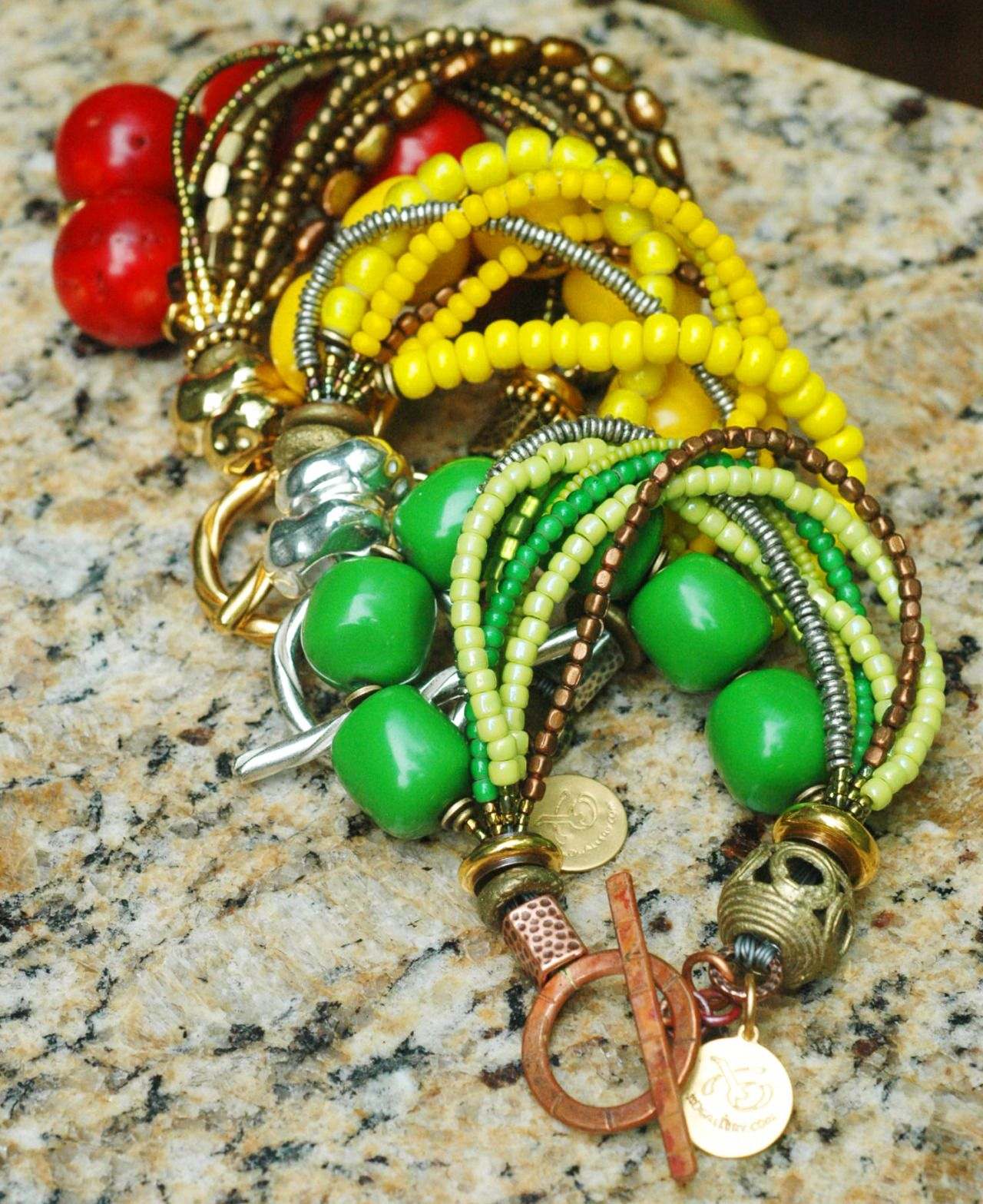 Colors of Summer: Red, Yellow and Green Statement Bracelets; remind ...