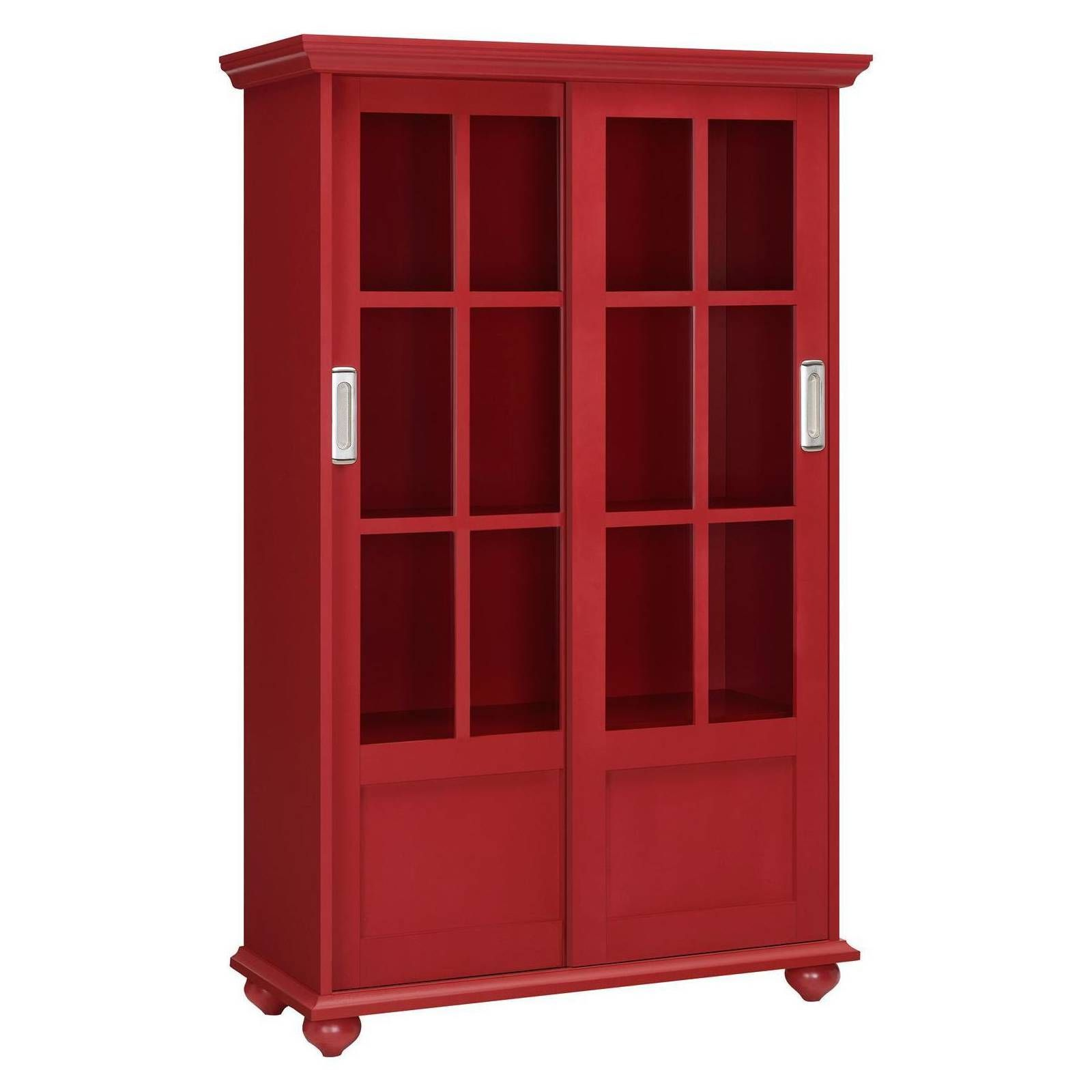 Aaron Lane Bookcase With Sliding Glass Doors Red Altra Glass