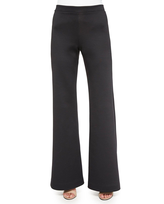 Flare-Leg Scuba Jersey Pants, Black, Women's, Size: XS - Clover Canyon