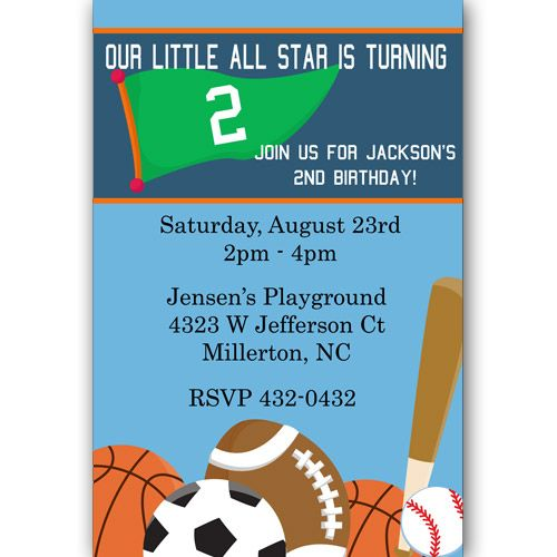 17 Best images about Bowmans 2nd Birthday Sports Theme on – Sports Themed Birthday Invitations
