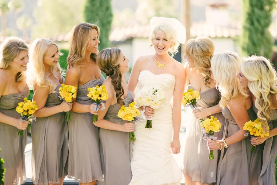 Grey Bridesmaid Dresses with Yellow Accents_Bridesmaid ...