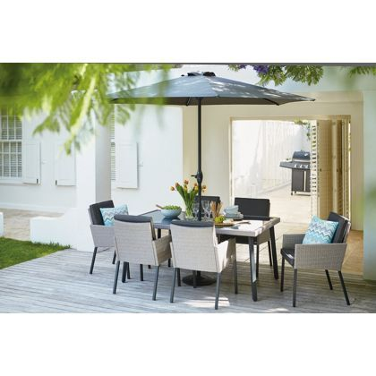 palermo 6 seater rattan effect garden furniture set
