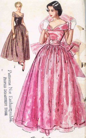 Vintage 1950\'s Sewing Pattern, Evening Dress, Ball Gown & Stole ...