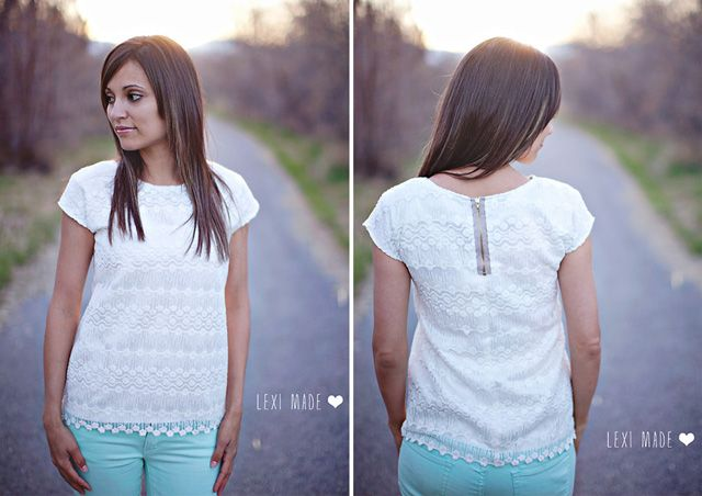 Women's Lace Exposed Zipper Top DIY - The Sewing Rabbit