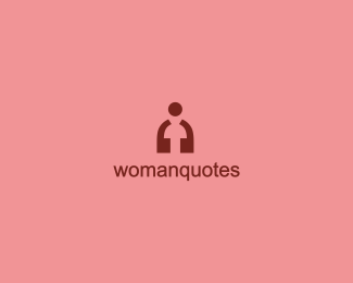Negative space logo design: Womanquotes
