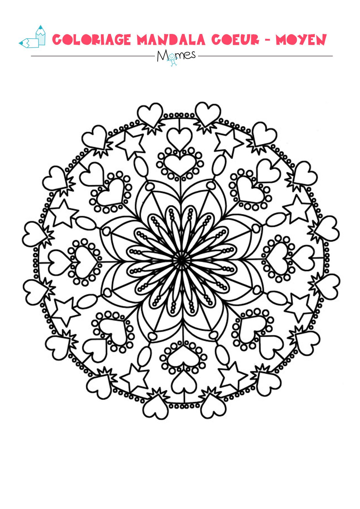 Mandala Coeur à Colorier Moyen Cizimler Coeur à
