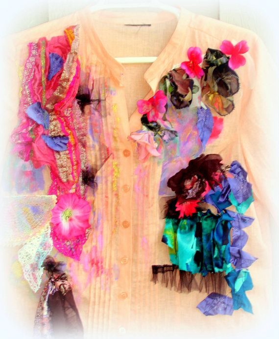 Linen Cotton and Roses Upcycled Romantic Shirt by JacketsbyJahne, $150.00