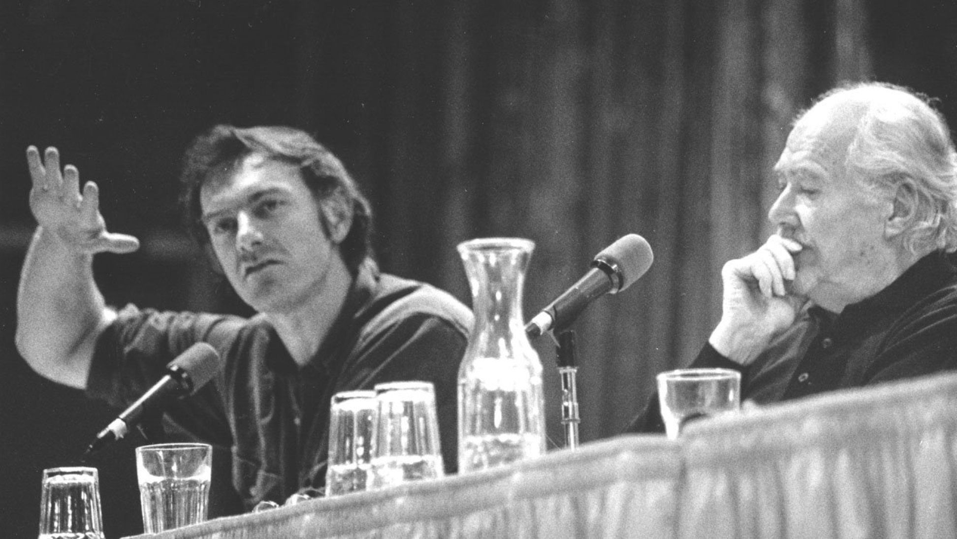 """John Sayles and Robert Altman take part in a panel discussion at the 1988 Sundance Film Festival.  Altman was working on his groundbreaking TV production of """"Tanner '88"""" at the time."""