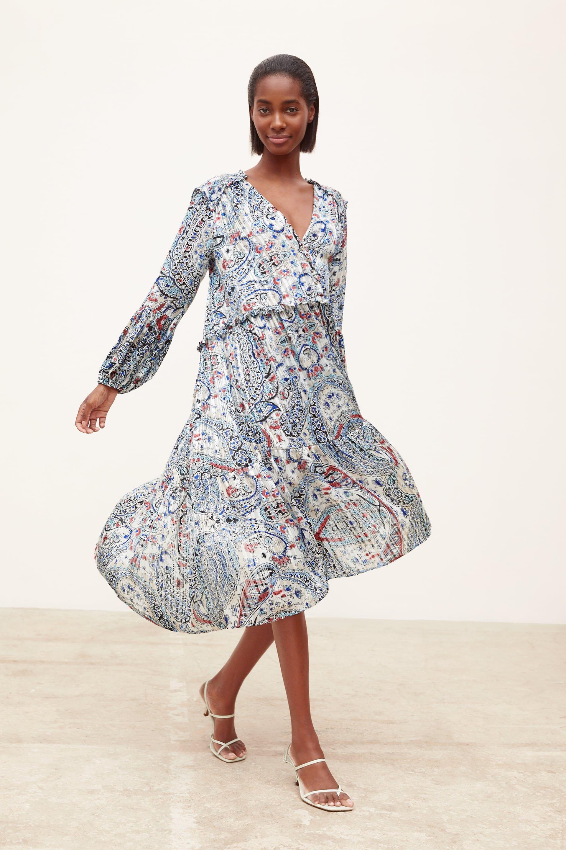 e068107e METALLIC THREAD PRINTED DRESS - Midi-DRESSES-WOMAN | ZARA United States