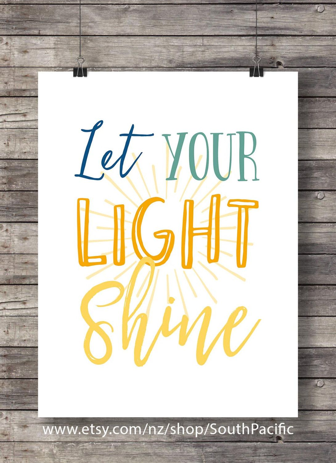 Let your light shineHand lettering typography Printable art ...