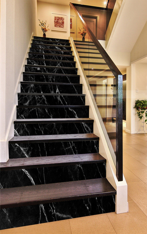 Best 3D Classic Black 884 Marble Tile Texture Stair Risers Aj 400 x 300