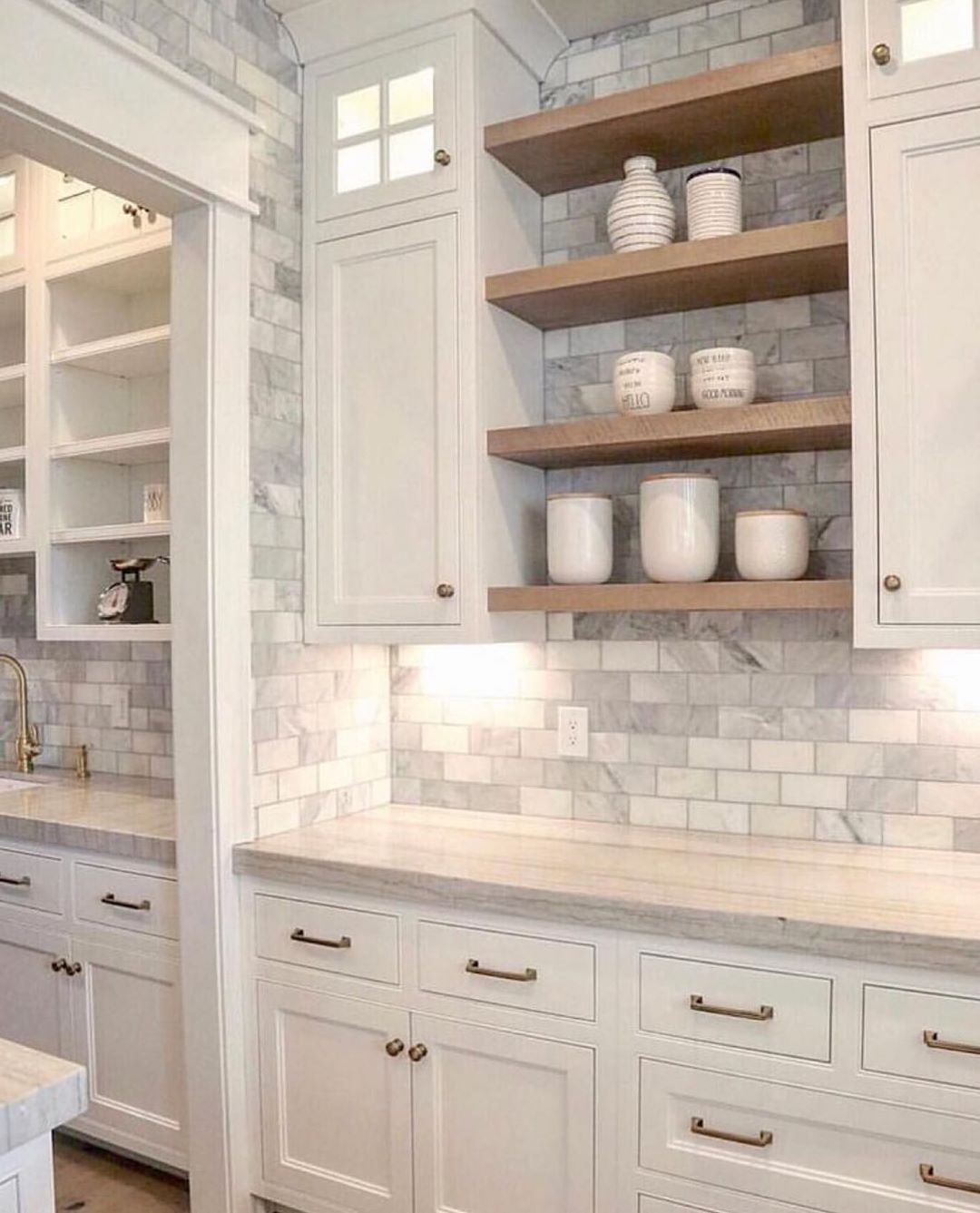 This Full Wall Of Tile Doubles As A Lovely Accent And Backsplash We Love Using Accent Backsplash Double In 2020 Kitchen Style Home Kitchens New Kitchen Cabinets