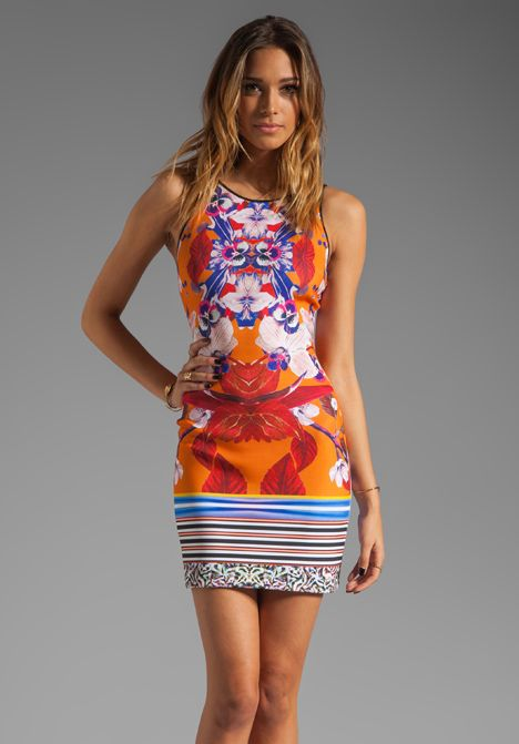 Clover Canyon Prism Orchid Neoprene Dress In Orange