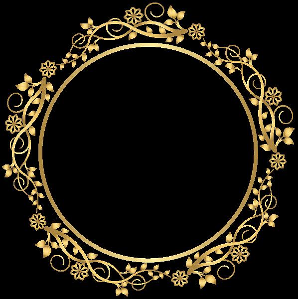 Gold Round Floral Border Transparent PNG Clip Art Image