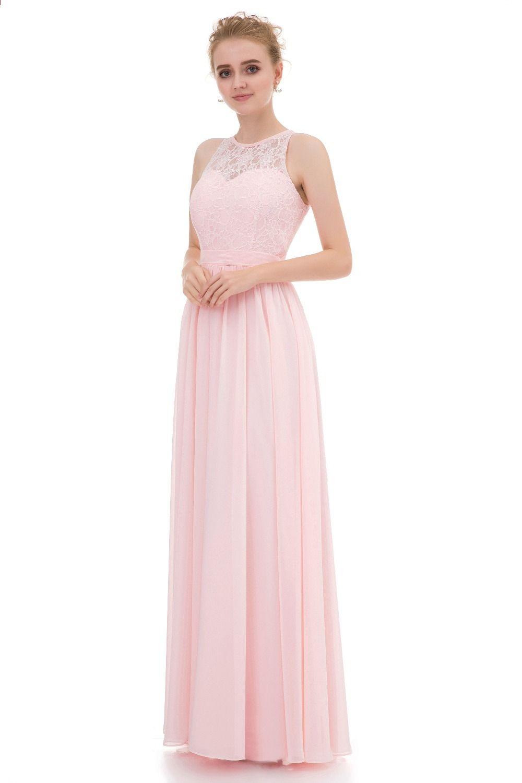 920148fb7b3 Elegantne haljine djeveruša Long 2017 svijetlo ružičasti šifon sa čipkom  High Neck Vestido Madrinha vjenčanica stranka haljine