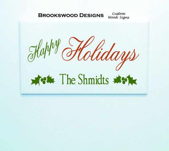 """Printed Wood Christmas Sign with Last Name And Quote """" Happy Holidays """" Customized Christmas Wall Plaque for Home Decor"""