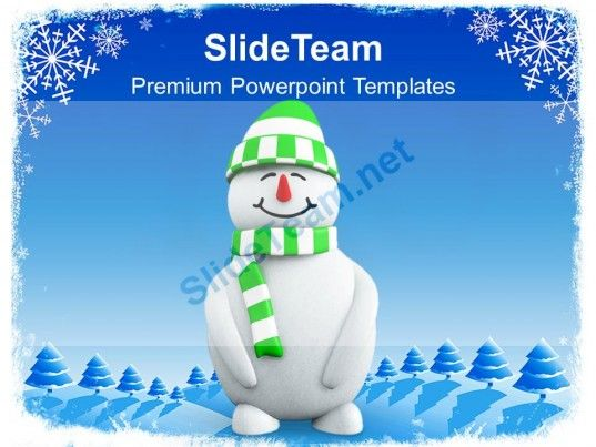 Snowman With Green Hat Christmas Cold Winter PowerPoint Templates - winter powerpoint template