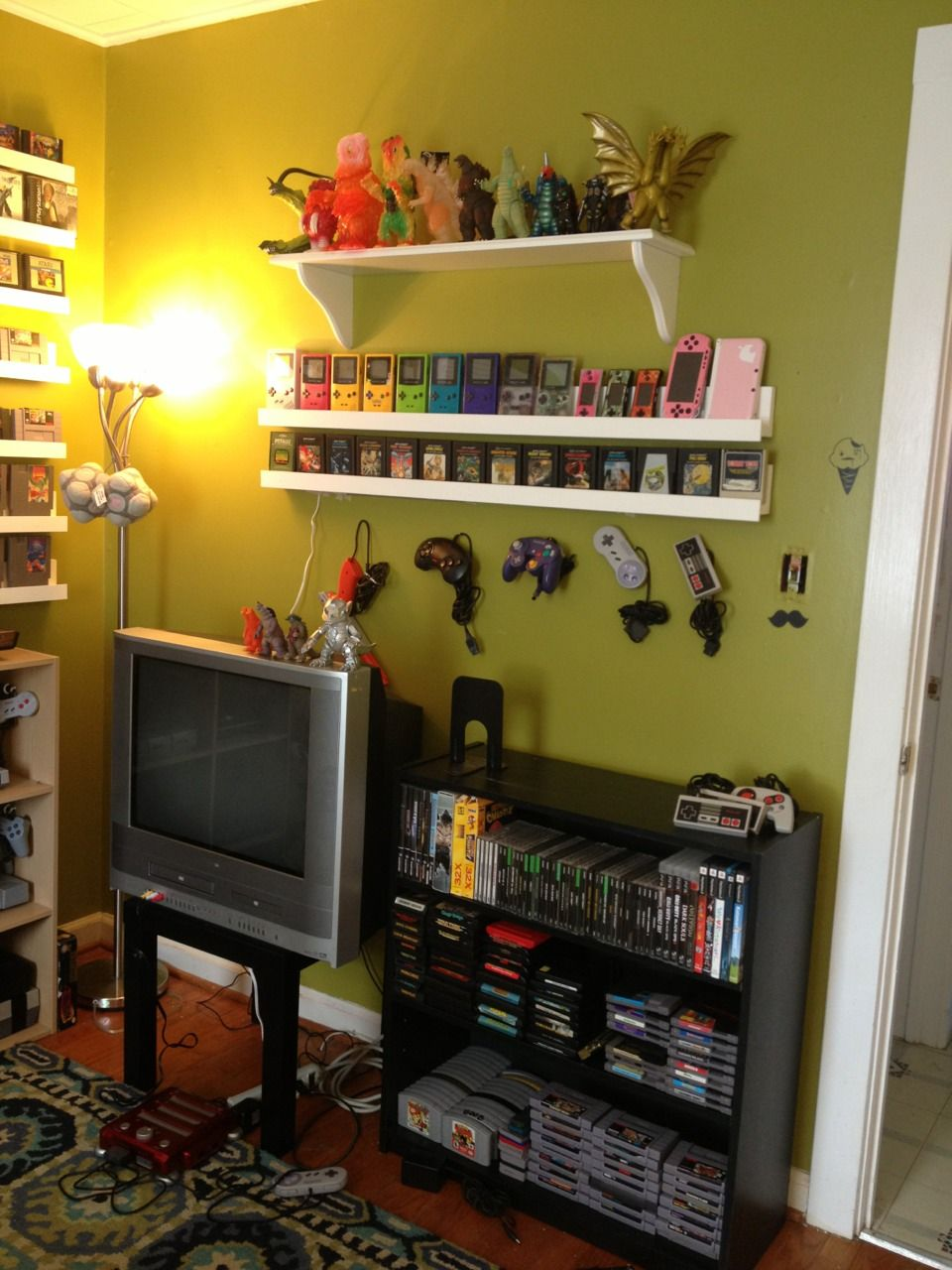 gamer builds room to display her retro video game on video game room ideas for adults id=56289