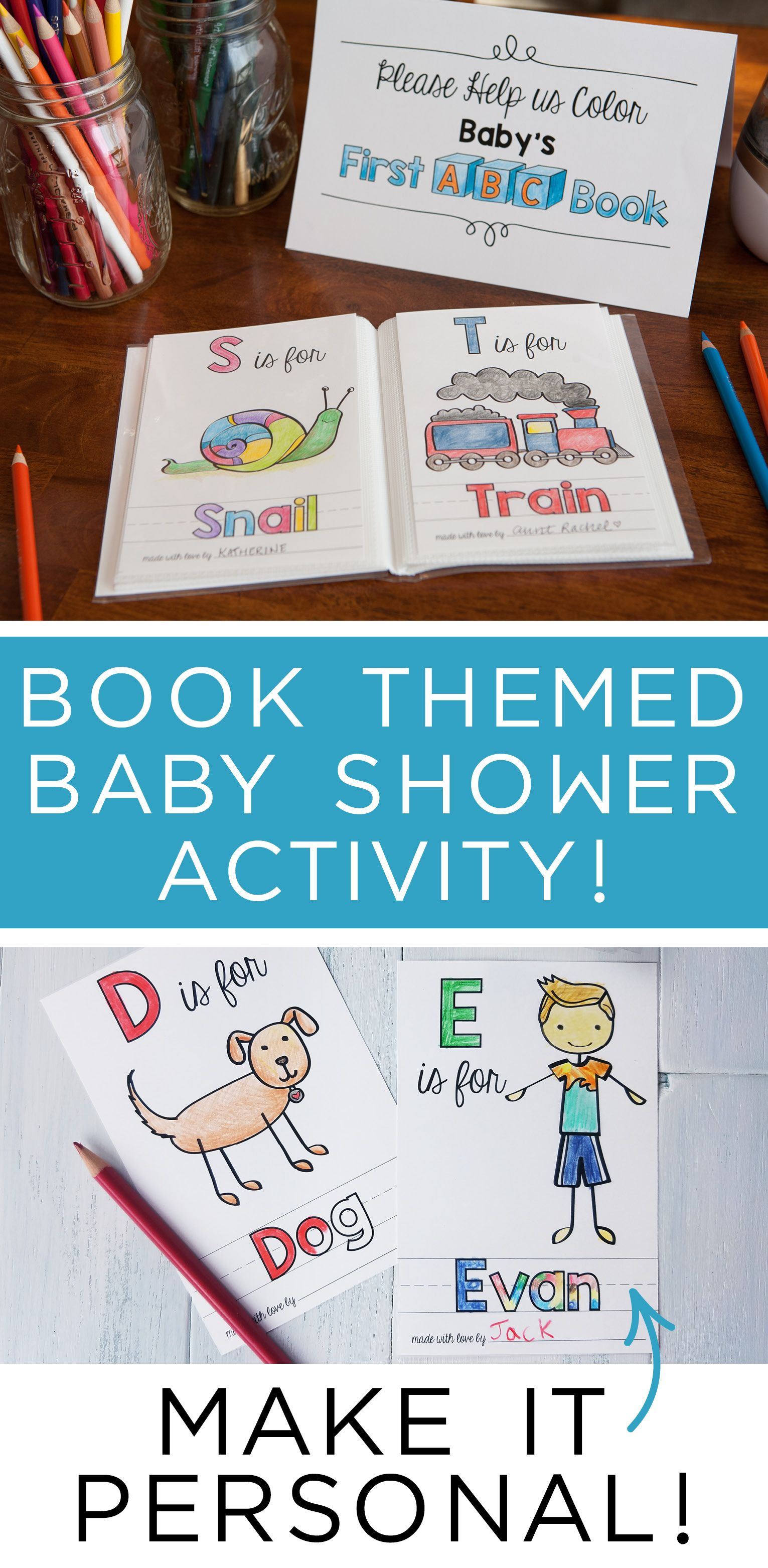 Abc Book Baby Shower Activity Personalized Alphabet Coloring Etsy Baby Shower Book Storybook Baby Shower Book Baby Shower Theme