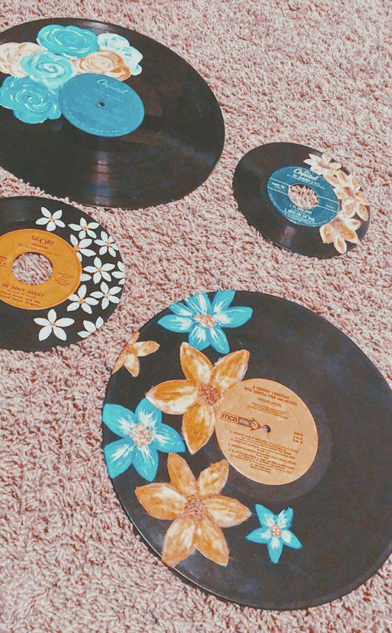 Painting Old Records Vinyl Art Paint Vinyl Record Art Record Art