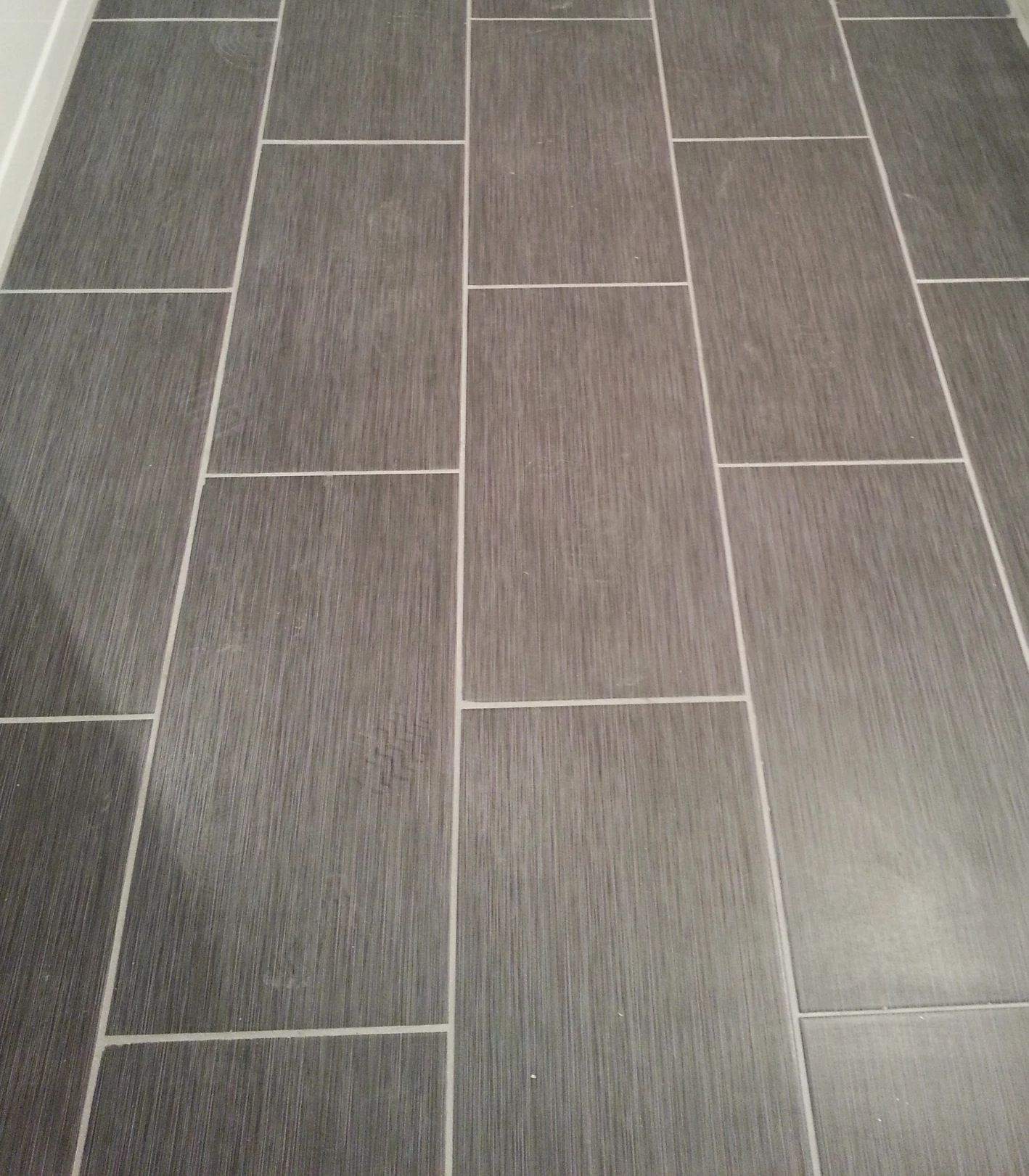 Home Depot Metro Gris 12x24 Tile In My Bathroom! | Home Depot Bathroom Tile, Home Depot Bathroom, Bathroom Floor Tiles