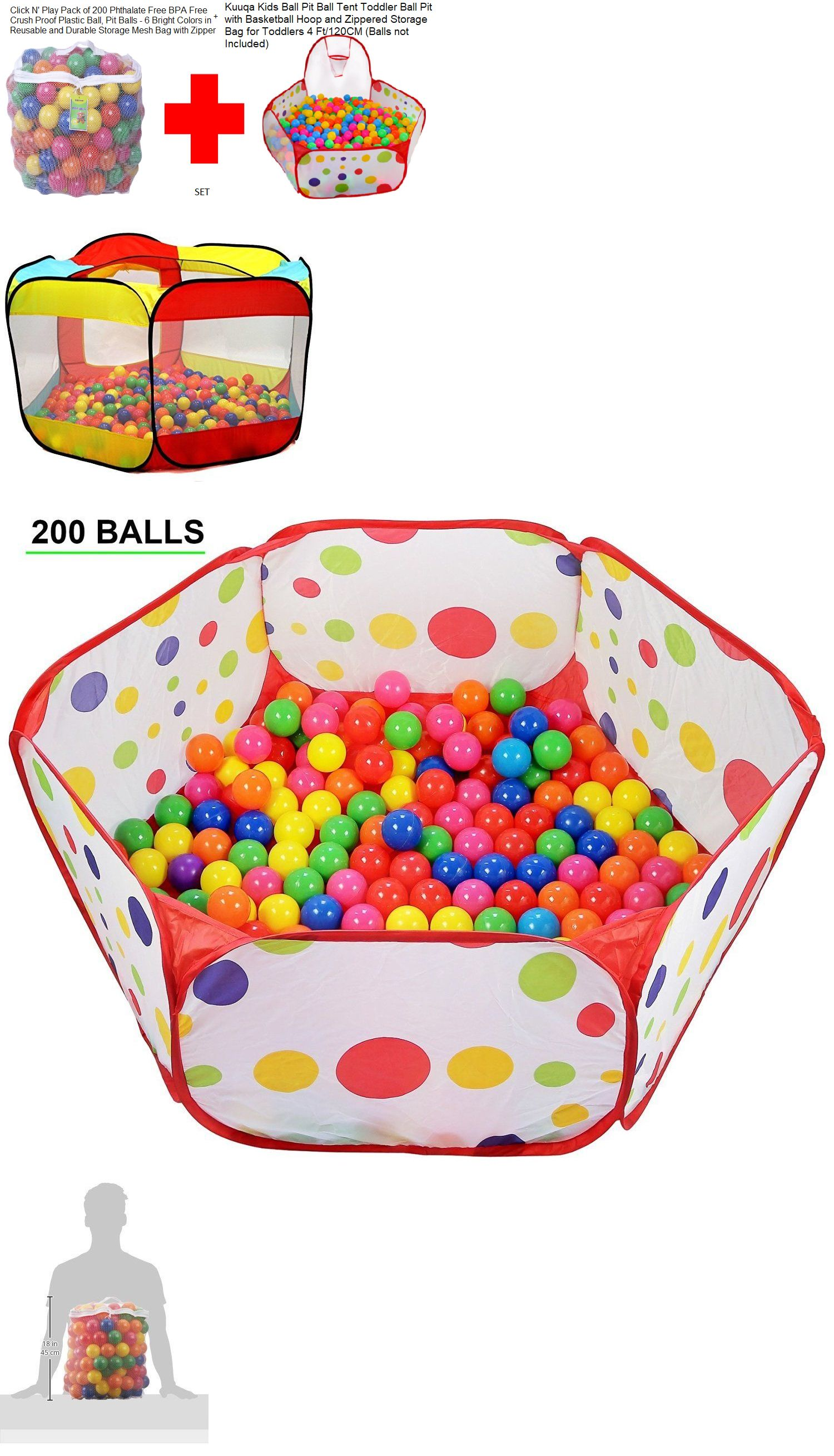 Pit Balls 145996 Click N Play Pack Of 200 + Ball Pit Ball Tent Toddler Ball With Basketball[Set] -u003e BUY IT NOW ONLY $58.74 on #eBay #balls #click #toddler  sc 1 st  Pinterest & Pit Balls 145996: Click N Play Pack Of 200 + Ball Pit Ball Tent ...