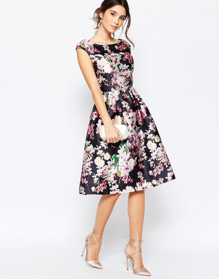 7db41c75e3 Image 4 of Chi Chi London Allover Floral Midi Dress With Keyhole Back Detail