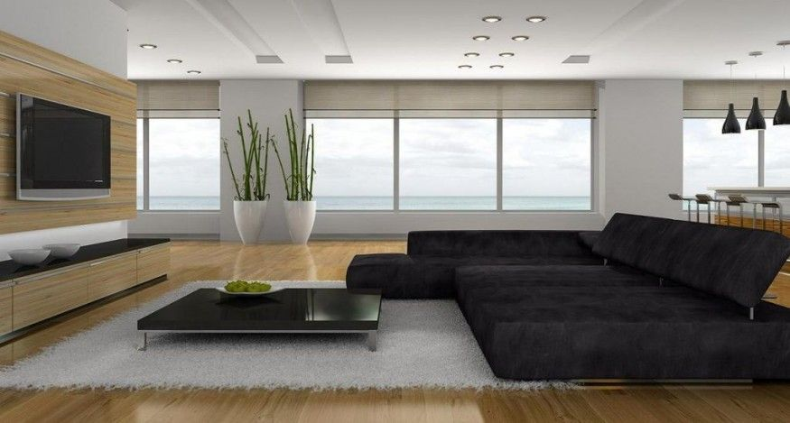 Modern Living Room With Entertainment Tv Setup Minimalist Living