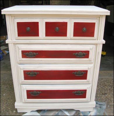 This Is Similar To What I Want To Do For A Dresser In The Bear S Razorback Room White Distressed Dresser Distressed Dresser Dresser Makeover