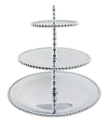 From the String of Pearls Collection by @mariposagift, this three-tiered #server reimagines the eponymous jewelry in lustrous silver ($180).