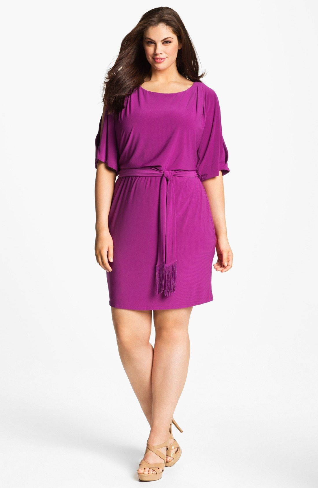 Jessica Simpson Cold Shoulder Matte Jersey Blouson Dress (Plus Size ...