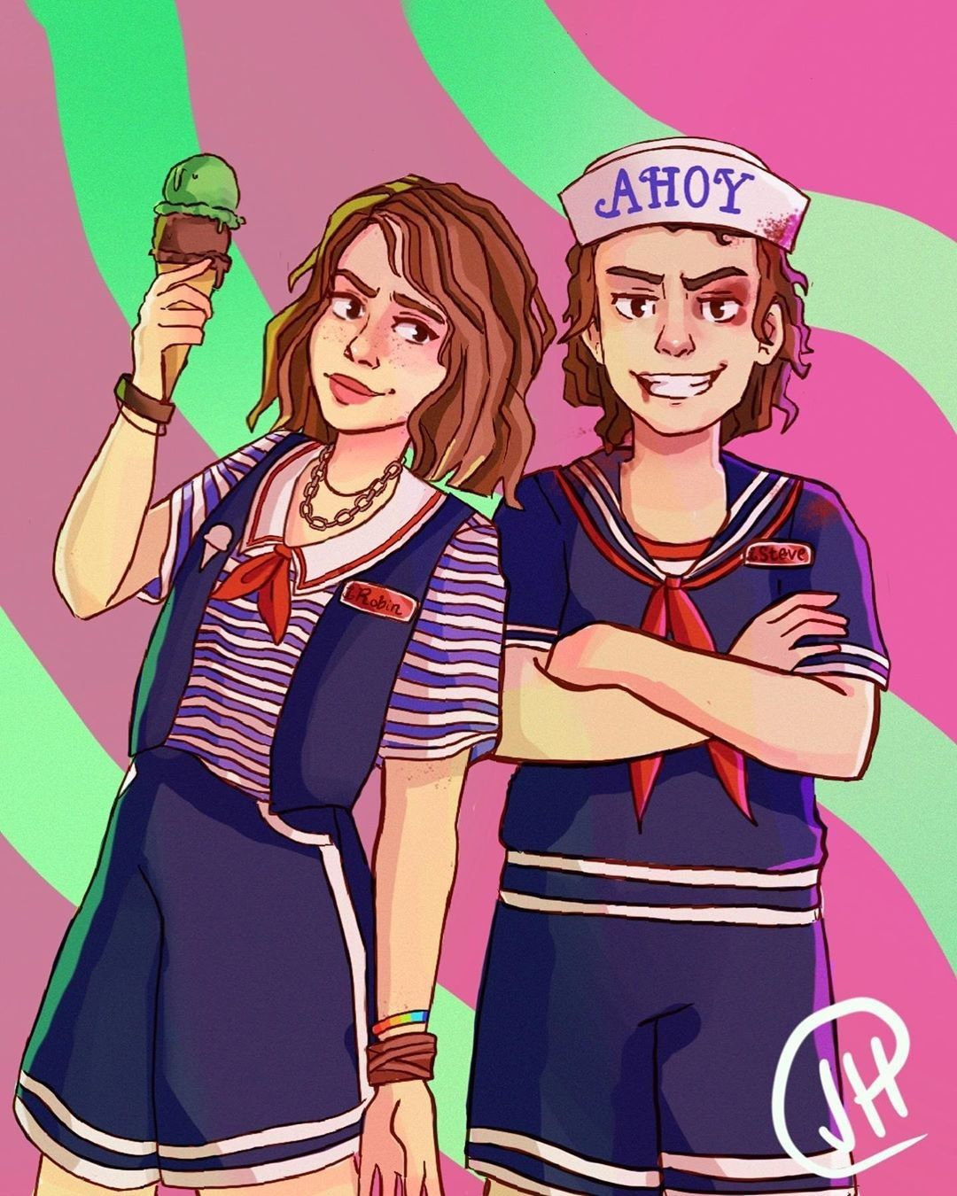Stranger Things Scoops Ahoy Robin And Steve By Jess Jessie Tries Art Stranger Things Fanart Stranger Things Funny Stranger Things Art