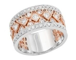 White and Rose Gold Wide Diamond Ring Gem Jewellers Ltd Rings